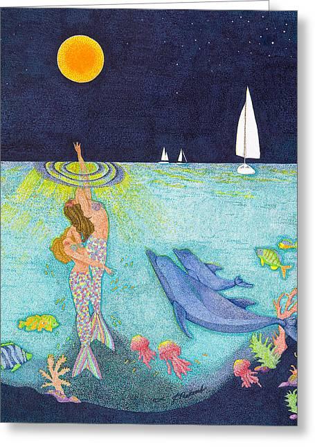 Yellow Sailboats Drawings Greeting Cards - Moonlight Crossing Greeting Card by Judy Cheryl Newcomb