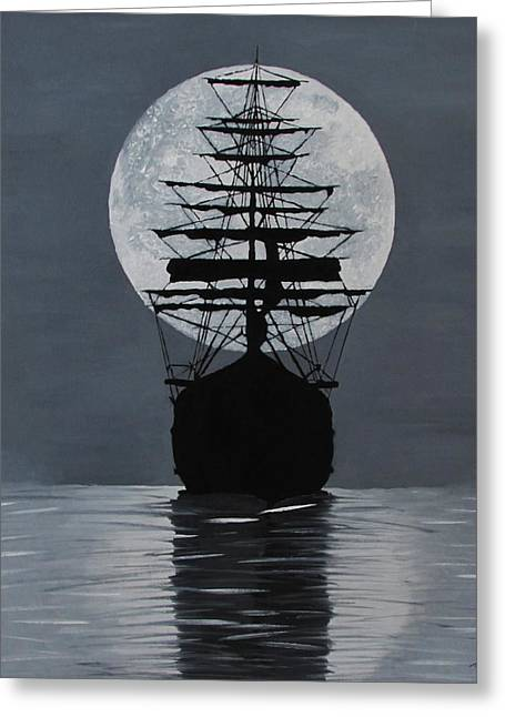 Sea Moon Full Moon Greeting Cards - Moonlight Desires Greeting Card by Alex Banman