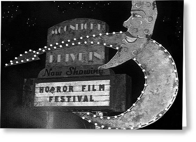 Horror Film Greeting Cards - Moonlight Drive In sign work BW Greeting Card by David Lee Thompson