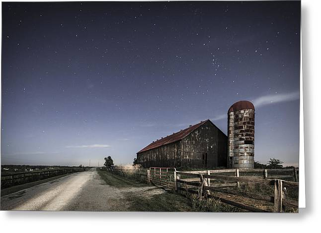 Wooden Building Greeting Cards - Moonlight farm Greeting Card by Alexey Stiop