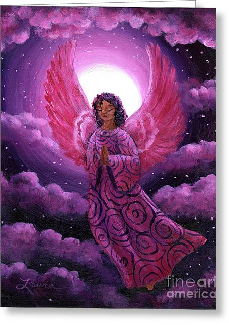 Religious Angel Art Greeting Cards - Moonlight Hope Greeting Card by Laura Iverson