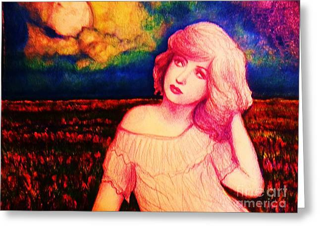 Moonrise Drawings Greeting Cards - Moonlight in bold colors Greeting Card by Veronica Gabriel