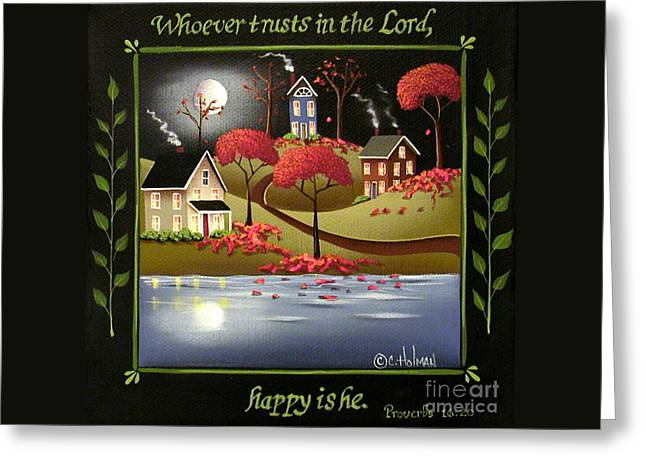 Bible Art Prints Greeting Cards - Moonlight in Cottage Grove Greeting Card by Catherine Holman