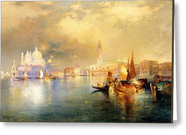 Reflections Of Building In Water Greeting Cards - Moonlight in Venice Greeting Card by Thomas Moran