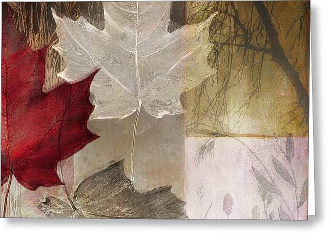 Red Leaves Greeting Cards - Moonlight in Vermont II Greeting Card by Mindy Sommers