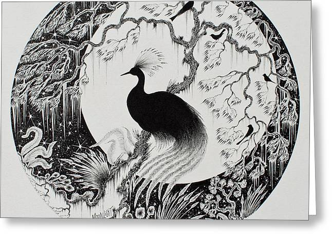 Pen And Ink Drawing Greeting Cards - Moonlight Greeting Card by Jamie Patterson
