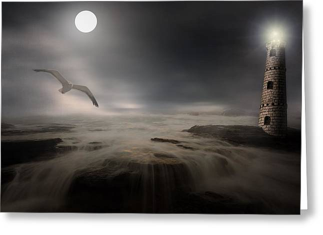Flying Seagull Digital Art Greeting Cards - Moonlight Lighthouse Greeting Card by Lourry Legarde