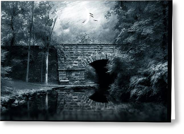 Spooky Moon Greeting Cards - Moonlight Mood Greeting Card by Jessica Jenney