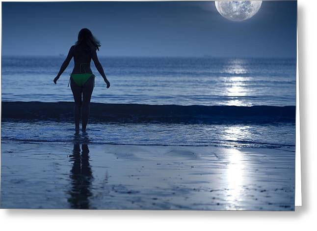 Gloaming Greeting Cards - Moonlight Greeting Card by MotHaiBaPhoto Prints