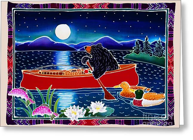 Whimsical Greeting Cards - Moonlight on a Red Canoe Greeting Card by Harriet Peck Taylor