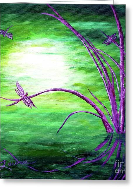 Dragonflies Greeting Cards - Moonlight on Green Water Greeting Card by Laura Iverson