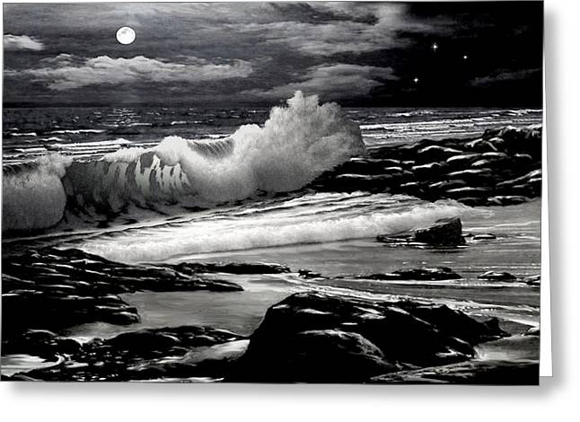 Best Sellers -  - Sailboats At The Dock Greeting Cards - Moonlight on the Beach 2 Greeting Card by Ronald Chambers