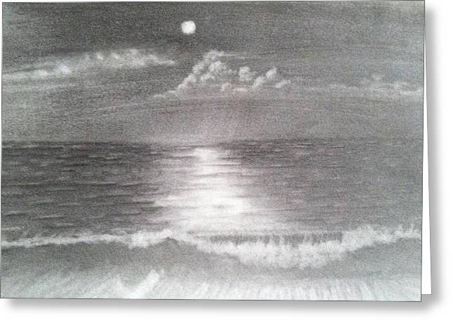 Moon Beach Drawings Greeting Cards - Moonlight on the Beach Greeting Card by Dale  Wells
