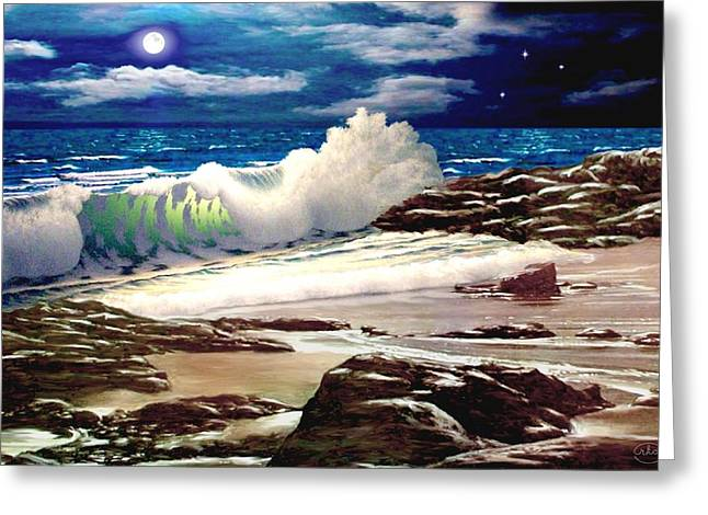 Seascape With A Boat Greeting Cards - Moonlight on the Beach Greeting Card by Ronald Chambers