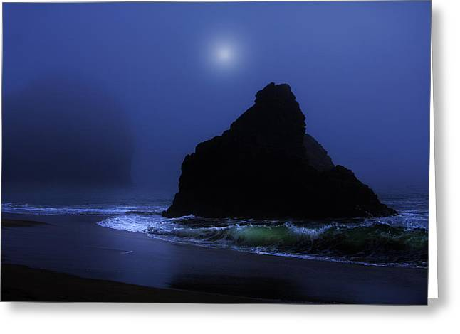 Foggy Beach Greeting Cards - Moonlight on the Beach Greeting Card by T J Hankins