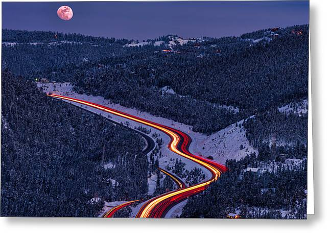 Moonlight On The Mountains Greeting Card by Darren White