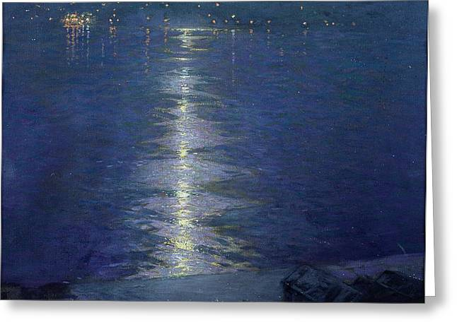 Moonlight on the River Greeting Card by Lowell Birge Harrison