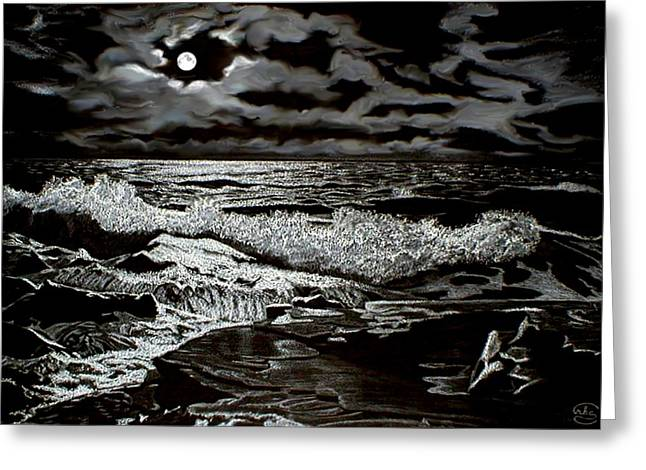 First Love Greeting Cards - Moonlight on the Rocks Greeting Card by Ronald Chambers