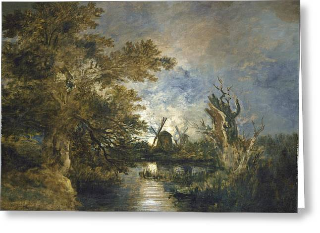 Moonlight On The River Greeting Cards - Moonlight On The Yare Greeting Card by John Crome
