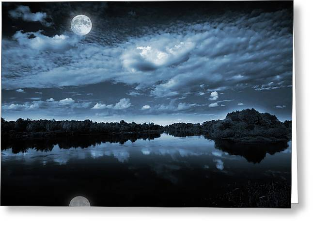 River. Clouds Greeting Cards - Moonlight over a lake Greeting Card by Jaroslaw Grudzinski
