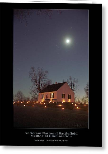Luminaries Greeting Cards - Moonlight over Dunker Church 96 Greeting Card by Judi Quelland