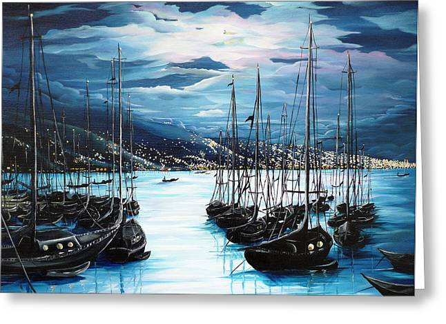 Yacht Greeting Cards - Moonlight Over Port Of Spain Greeting Card by Karin Kelshall- Best