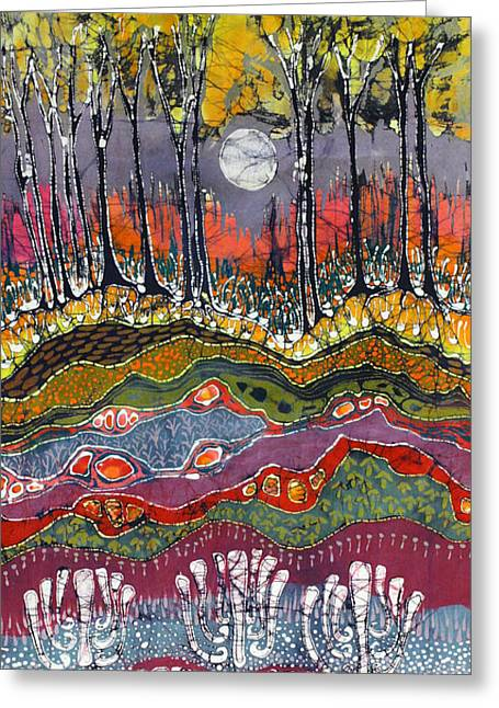 Earth Tapestries - Textiles Greeting Cards - Moonlight Over Spring Greeting Card by Carol  Law Conklin