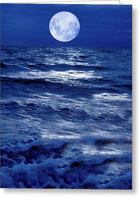 Sea Scape Greeting Cards - Moonlight Over The Ocean Greeting Card by Christian Lagereek
