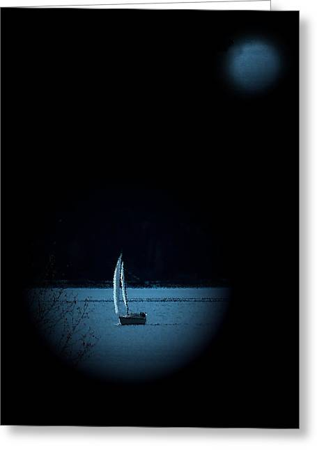 Glenmore Reservoir Greeting Cards - Moonlight Sail Greeting Card by Al Bourassa