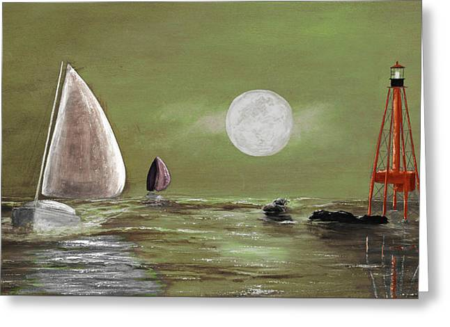 Moonlight Sailnata 2 Greeting Card by Ken Figurski