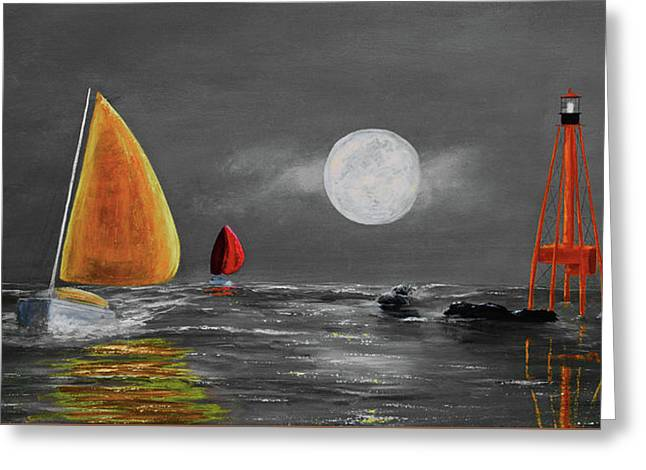 Moonlight Sailnata 3 Greeting Card by Ken Figurski