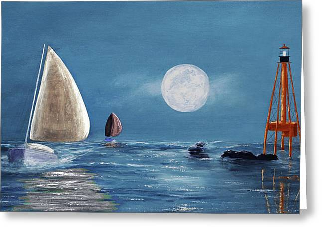 Moonlight Sailnata 4 Greeting Card by Ken Figurski