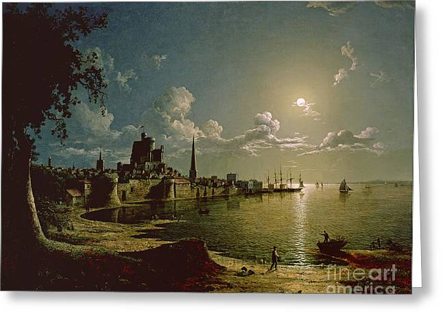 Sebastian (1790-1844) Paintings Greeting Cards - Moonlight Scene Greeting Card by Sebastian Pether