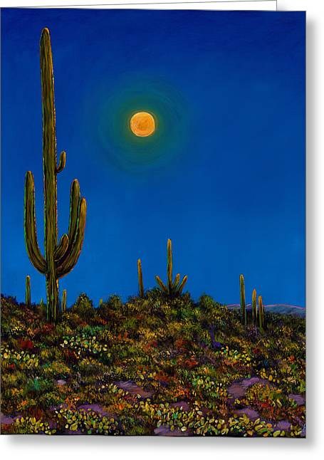 Santa Fe Desert Greeting Cards - Moonlight Serenade Greeting Card by Johnathan Harris