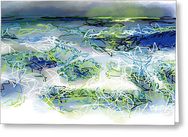 Turbulent Skies Drawings Greeting Cards - Moonlight Serenade Greeting Card by Robert Yaeger
