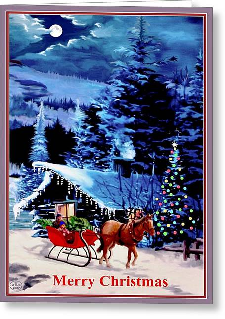 Star Of Bethlehem Greeting Cards - Moonlight Sleigh Ride Greeting Card by Ronald Chambers