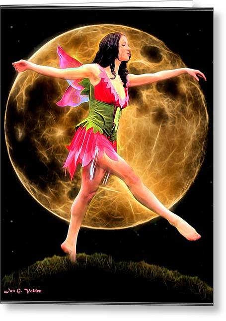 Art Book Greeting Cards - Moonlight Stroll Of A Fairy Greeting Card by Jon Volden