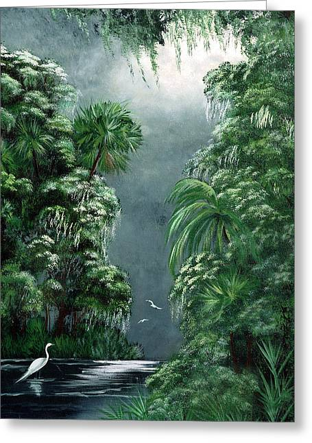 Fog Mixed Media Greeting Cards - Moonlight  Swamp Greeting Card by Darlene Richardson
