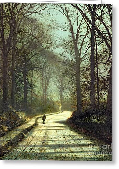Street Lights Greeting Cards - Moonlight Walk Greeting Card by John Atkinson Grimshaw
