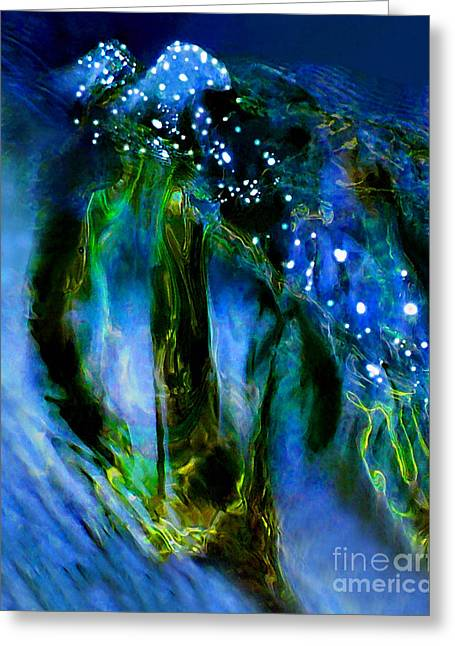 Abstract Expressionist Greeting Cards - Moonlight Waterfall Greeting Card by Terril Heilman