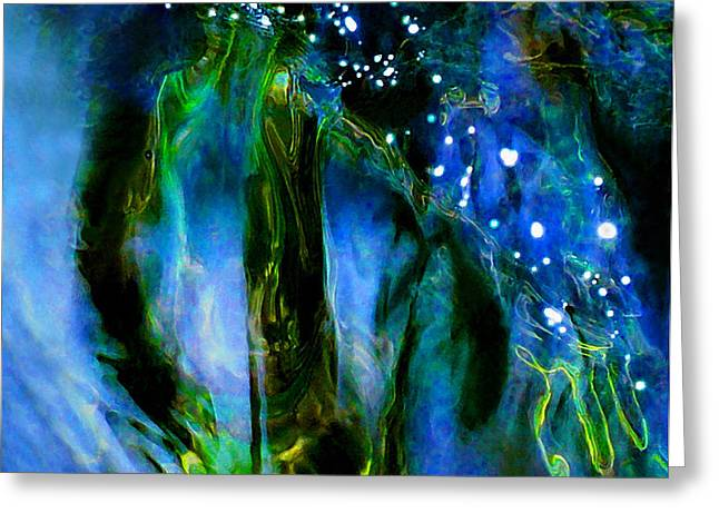 Moonlight Waterfall Greeting Card by Terril Heilman