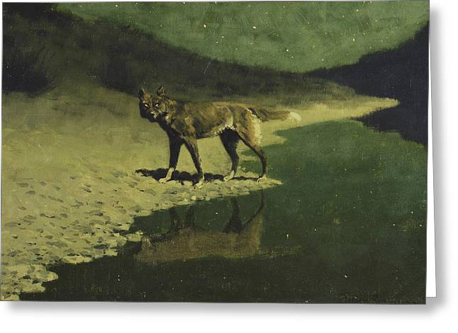 Moonlight, Wolf Greeting Card by Frederic Remington