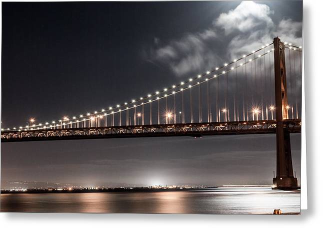 Recently Sold -  - Bay Bridge Greeting Cards - Moonlit Bridge Greeting Card by Brooks Creative -Photography and Artwork By Anthony Brooks