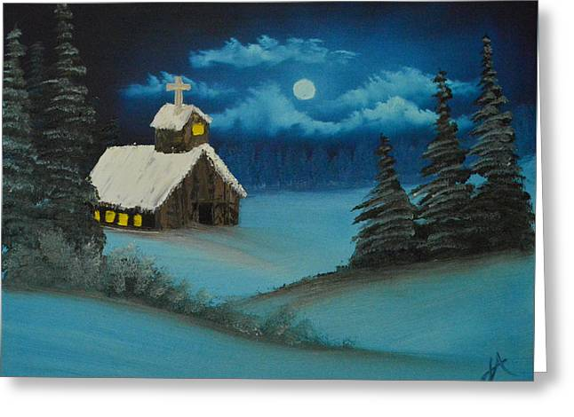 Snowy Night Night Greeting Cards - Moonlit Church Greeting Card by Jerod Anderson