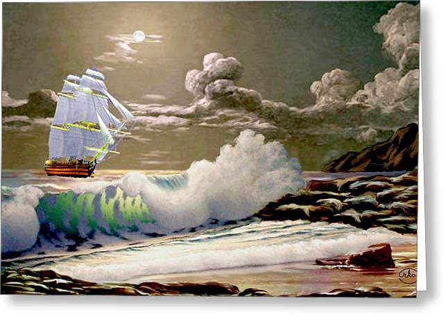 Sailboats In Harbor Greeting Cards - Moonlit Clipper Greeting Card by Ronald Chambers