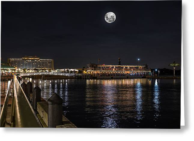 Lake Buena Vista Greeting Cards - Moonlit Disney Contemporary Resort Greeting Card by Chris Bordeleau
