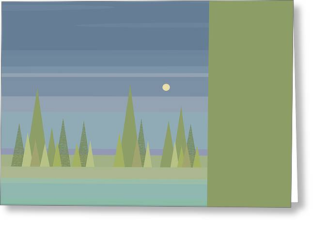 Minimalist Landscape Greeting Cards - Moonlit Dreams Greeting Card by Val Arie