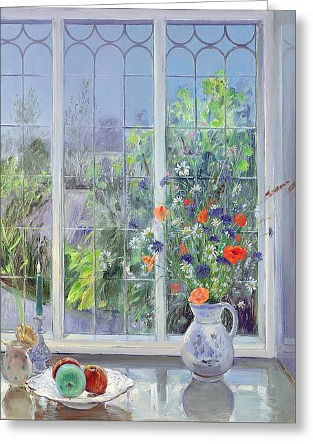 Interior Still Life Paintings Greeting Cards - Moonlit Flowers Greeting Card by Timothy Easton