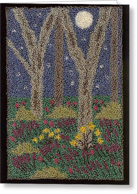 Primitive Tapestries - Textiles Greeting Cards - Moonlit Forest Greeting Card by Jan Schlieper