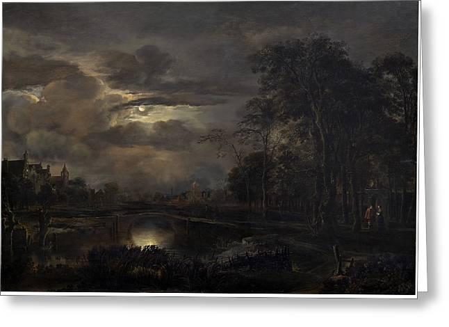 Outlook Paintings Greeting Cards - Moonlit Landscape With Bridge Greeting Card by Aert Van Der Neer